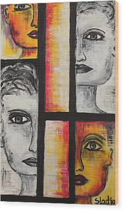 Wood Print featuring the painting 4 Faces by Sladjana Lazarevic