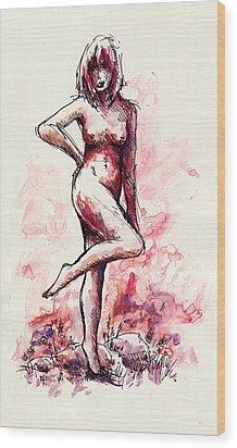 Figure Study Wood Print by Rachel Christine Nowicki