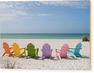 Florida Sanibel Island Summer Vacation Beach Wood Print by ELITE IMAGE photography By Chad McDermott