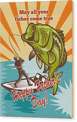 Fly Fisherman On Boat Catching Largemouth Bass Wood Print by Aloysius Patrimonio