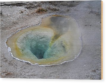 Hot Springs And Geysers In Yellowstone Wood Print by Pierre Leclerc Photography