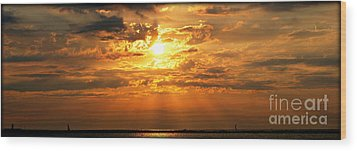 Lake Erie Sunset Wood Print by Lila Fisher-Wenzel