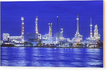 Landscape Of River And Oil Refinery Factory  Wood Print