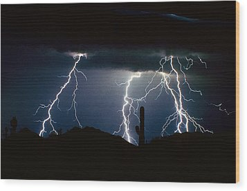 4 Lightning Bolts Fine Art Photography Print Wood Print by James BO  Insogna