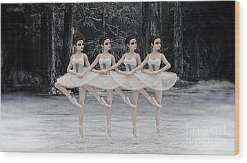 Wood Print featuring the digital art 4 Little Swans by Methune Hively