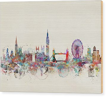 London City Skyline Wood Print