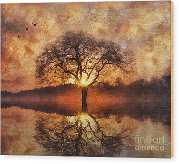Wood Print featuring the digital art Lone Tree by Ian Mitchell
