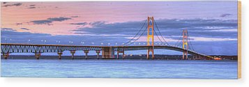 Mackinac Bridge In Evening Wood Print by Twenty Two North Photography
