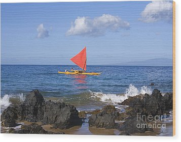 Maui Sailing Canoe Wood Print by Ron Dahlquist - Printscapes