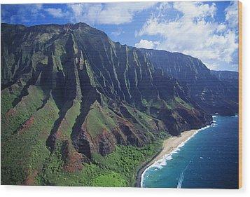 Na Pali Coast Aerial Wood Print by Bob Abraham - Printscapes