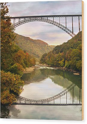 New River Gorge Bridge Wood Print by Mary Almond