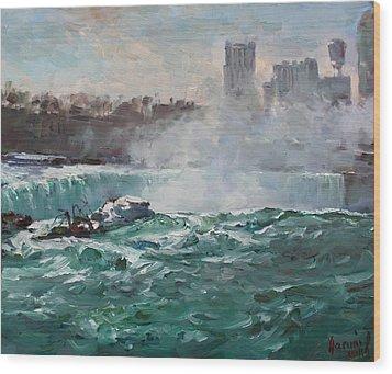 Niagara Falls Wood Print by Ylli Haruni