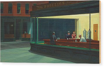 Nighthawks Wood Print