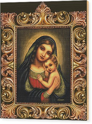 Oval Madonna Wood Print by Ananda Vdovic
