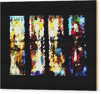 4 Panels Of Seville Abstract Wood Print by Donna Corless