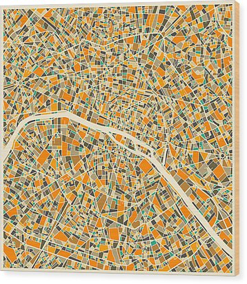 Paris Map Wood Print by Jazzberry Blue