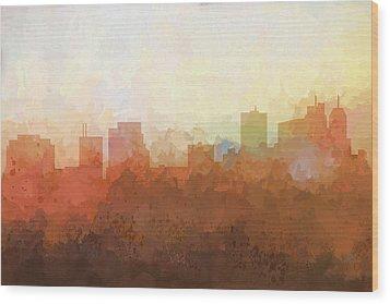 Wood Print featuring the digital art Parsippany New Jersey Skyline by Marlene Watson