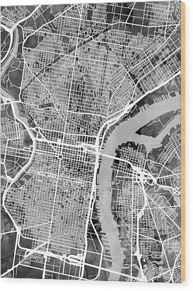 Philadelphia Pennsylvania Street Map Wood Print by Michael Tompsett