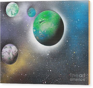 Wood Print featuring the painting 4 Planets by Greg Moores