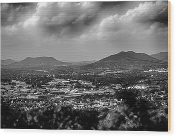 Roanoke City As Seen From Mill Mountain Star At Dusk In Virginia Wood Print by Alex Grichenko