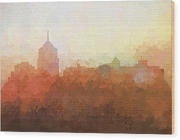 Wood Print featuring the digital art Roanoke Virginia Skyline by Marlene Watson