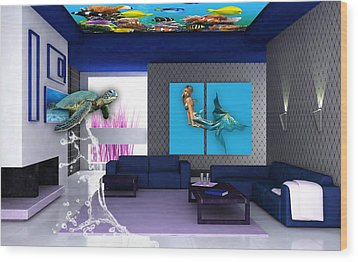Rooftop Saltwater Fish Tank Art Wood Print by Marvin Blaine