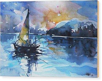 Wood Print featuring the painting Sailboat by Kovacs Anna Brigitta