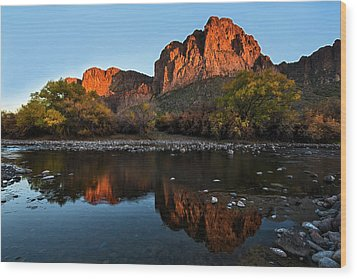Wood Print featuring the photograph Salt River Reflections by Dave Dilli