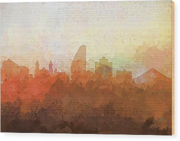 Wood Print featuring the digital art San Jose California Skyline by Marlene Watson