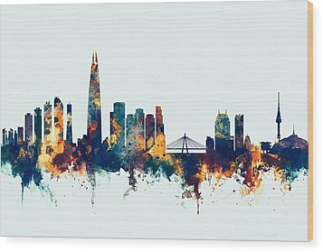 Wood Print featuring the digital art Seoul Skyline South Korea by Michael Tompsett