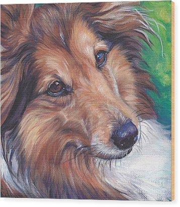 Shetland Sheepdog Wood Print by Lee Ann Shepard