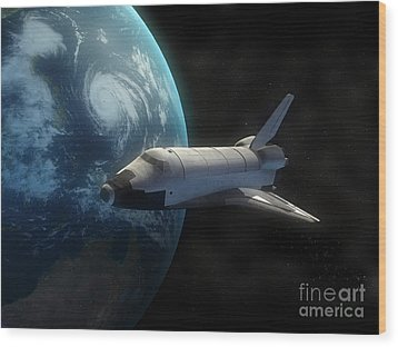 Space Shuttle Backdropped Against Earth Wood Print by Carbon Lotus