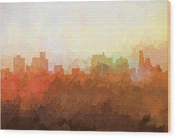 Wood Print featuring the digital art Springfield Illinois Skyline by Marlene Watson