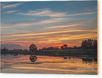 Sunset Reflections Wood Print by Robert Bales