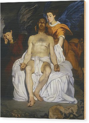 Wood Print featuring the painting The Dead Christ With Angels by Edouard Manet