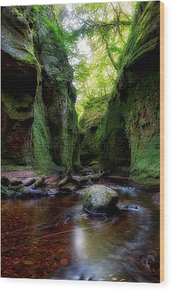 The Devil Pulpit At Finnich Glen Wood Print by Jeremy Lavender Photography