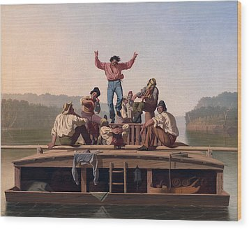 The Jolly Flatboatmen Wood Print