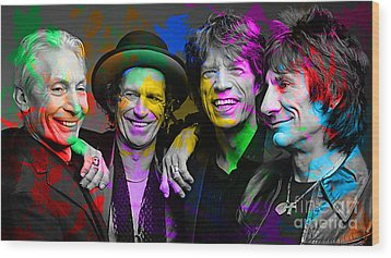 The Rolling Stones Wood Print by Marvin Blaine