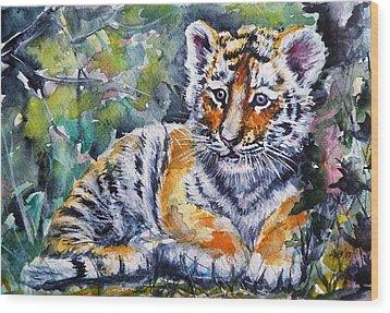 Wood Print featuring the painting Tiger Cub by Kovacs Anna Brigitta