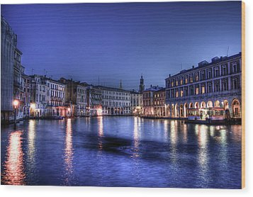 Venice By Night Wood Print by Andrea Barbieri