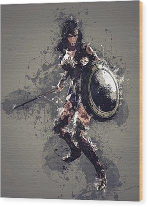 Wonder Woman Wood Print by Elena Kosvincheva