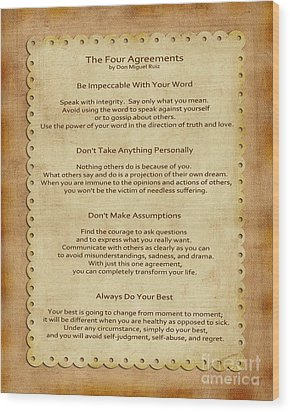 41- The Four Agreements Wood Print by Joseph Keane
