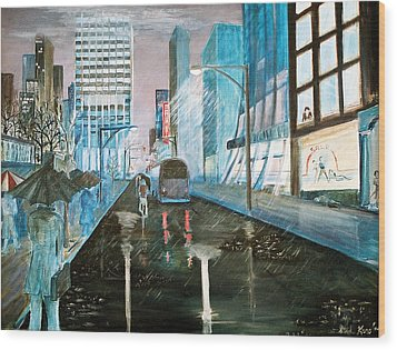 Wood Print featuring the painting 42nd Street Blue by Steve Karol