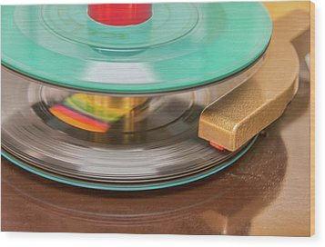 Wood Print featuring the photograph 45 Rpm Record In Play Mode by Gary Slawsky