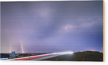 47 Street Lightning Storm Light Trails View Panorama 1 Wood Print by James BO  Insogna