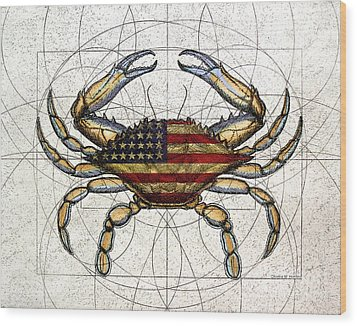 4th Of July Crab Wood Print by Charles Harden