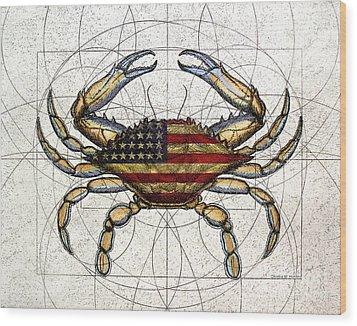 4th Of July Crab Wood Print