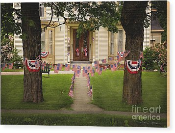 4th Of July Home Wood Print