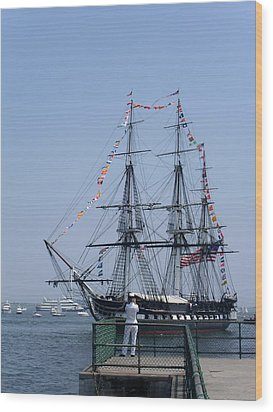 4th Of July Turnaround Uss Constitution Castle Island South Boston Ma Wood Print