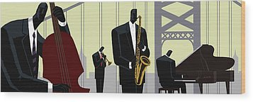 4th Street Bridge Quartet  Wood Print by Darryl Daniels